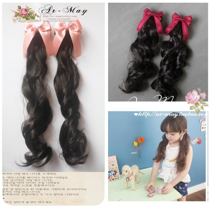 Childrens headdress childrens lady hair ornament girls curly hair wig horse tail lovely princess coat Long Bow