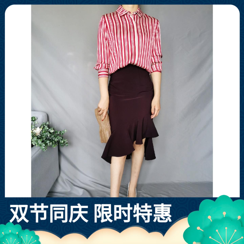 MAK' 轻奢高ji 进口重磅真丝30姆米抗皱处理竖条纹显瘦长袖衬衫