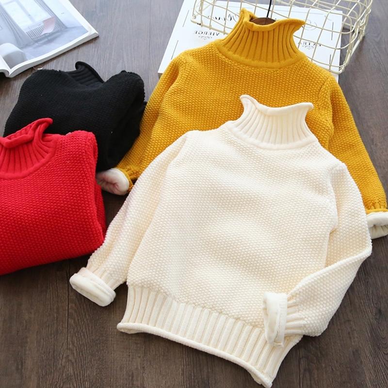 五折清仓!男女童加绒加厚保暖毛衣儿童高领打底衫宝宝针织上衣图片