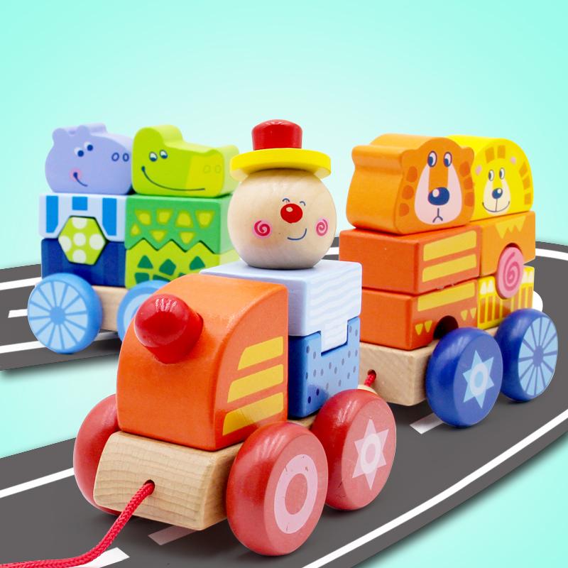 幼儿童早教益智力男孩女孩玩具1-2周岁3积木制拼装拖拉动物小火车