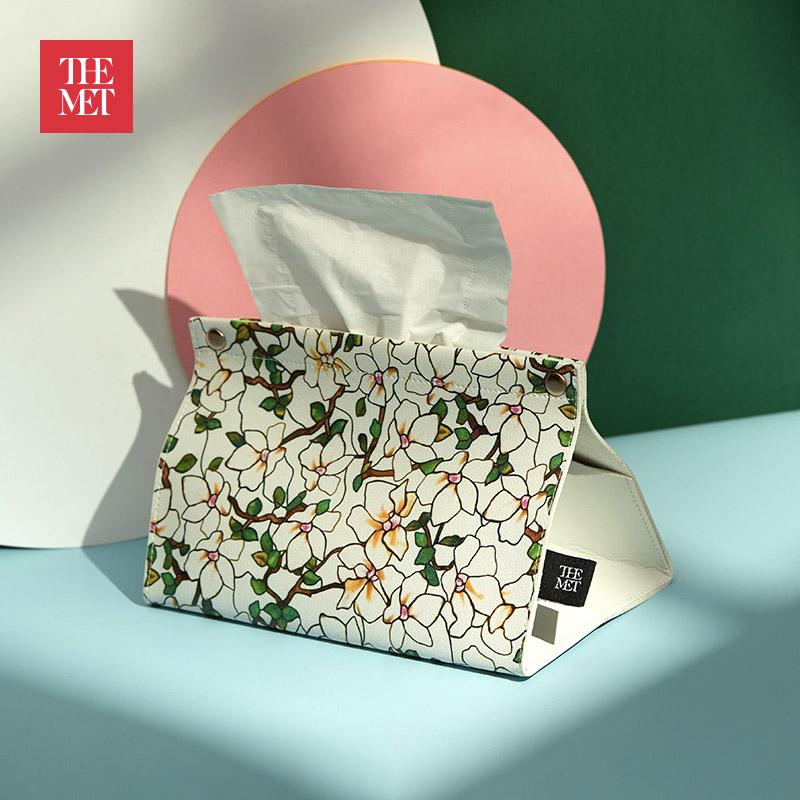 大都会博物馆鹦鹉与木槿花系列花卉纸巾盒创意家居文化礼品