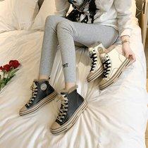 高帮鞋女2020年秋冬新款百搭平底板鞋网红加绒皮面帆布鞋休闲女鞋