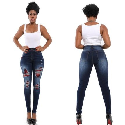 2020 new hole jeans big skinny hip lifting women's jeans 裤