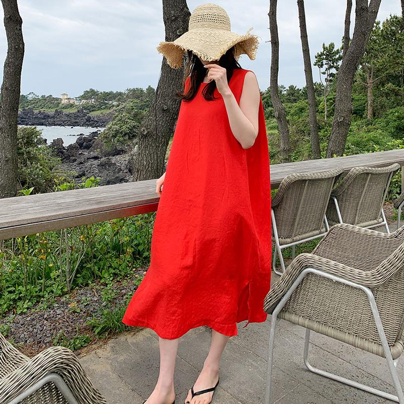 法式小红裙韩版宽松显瘦棉麻连衣裙女中长款文艺无袖亚麻背心裙子