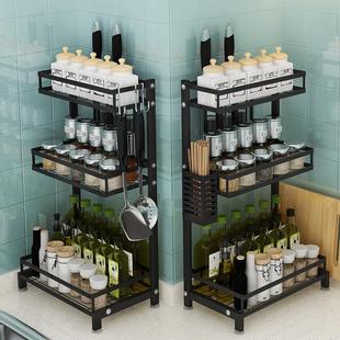 黑色不锈钢厨房置物架调料架子台面落地多层刀架收纳调味品置物架价格