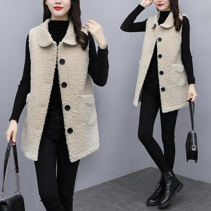 羊羔绒外套女宽松中长款2021春季新款外穿韩版皮毛一体背心马甲潮