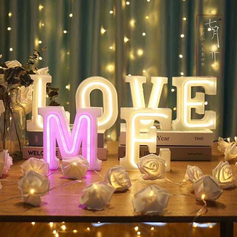 Led number letter neon light small love express marryme propose to marry me