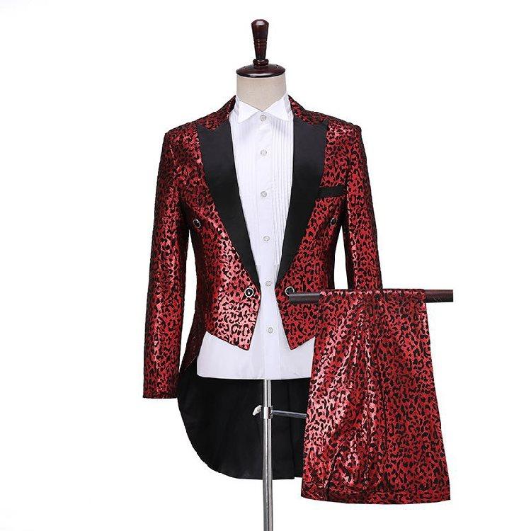 Selected fashion Panther print tuxedo mens slim dress suit mens chorus stage performance suit magic swallow