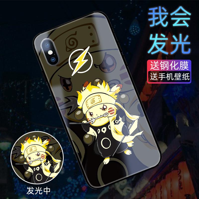 原创皮卡丘来电发会光手机壳苹果xsmax智能来电闪iphone7/8plus6