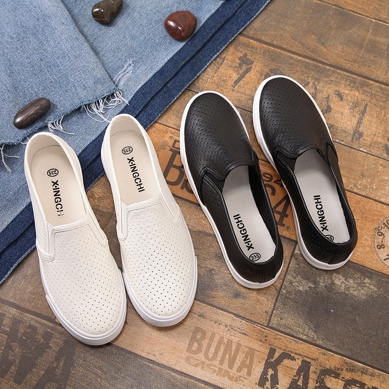 Small white shoes large womens shoes 41-43 40 summer mesh hollow out lazy shoes low top flat shoes breathable canvas shoes