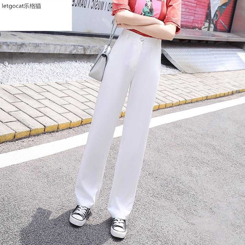 Summer thin white floor pants womens trousers wide leg suit pants straight tube loose high waist drape casual