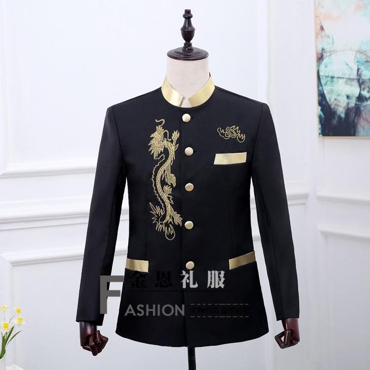 2019 Zhongshan suit mens Chinese stand collar Jinlong suit youth Korean version slim Chinese fashion leisure Xixin