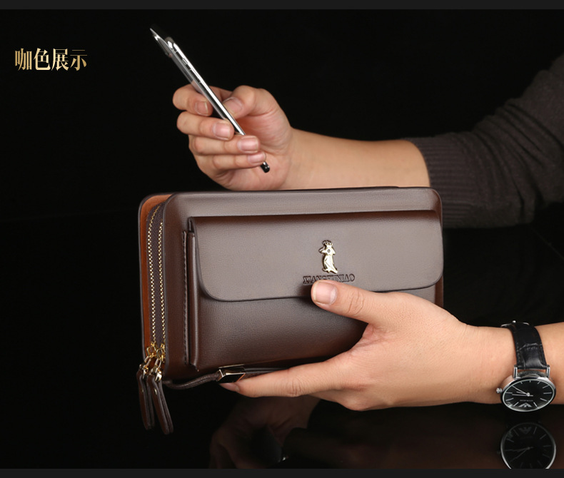 Hedonic bird popular mens handbag hand bag Pu double zipper handbag mens wallet business bag