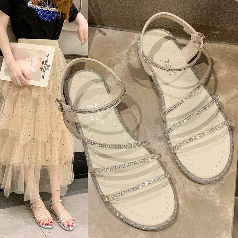 。凉鞋平底鞋软底舒适适合裙子的鞋子网红亮晶晶镶钻带钻