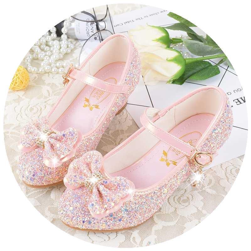 女孩闪亮高跟鞋穿纱裙用的单鞋儿童晚礼服用鞋T台5岁宴会的公主鞋