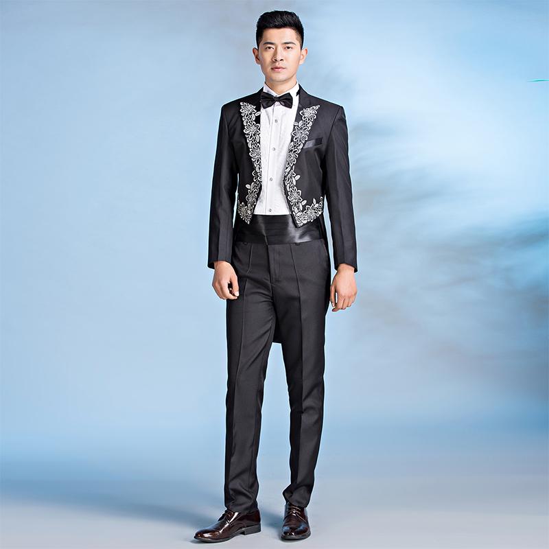 新品男士指挥演出服礼服黑色镶花燕尾服美声魔术表演服装爵士舞蹈