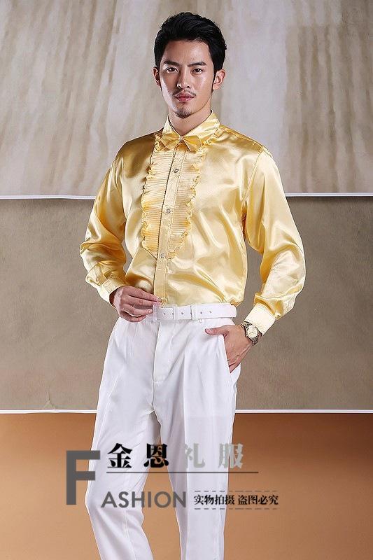 新品男彩色荷叶边长袖衬衫演出服影楼舞台男装礼服学生红歌大合唱