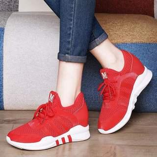 专柜正品牌红色运动鞋内增高女鞋春季2020新款小个子6cm增高厚底