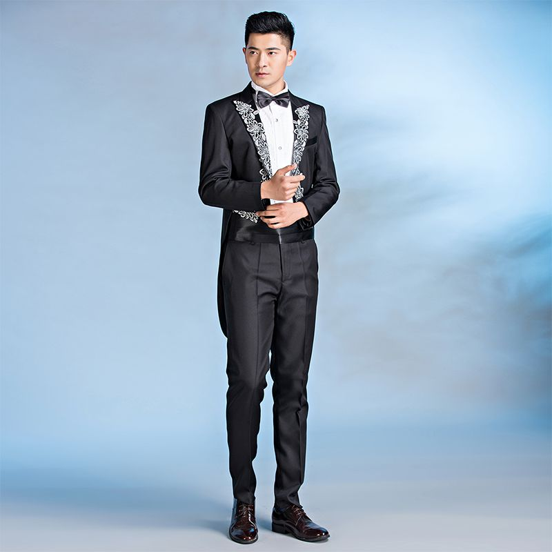 High grade mens conductors dress black inlaid tuxedo bel canto magic show costume Jazz Dance
