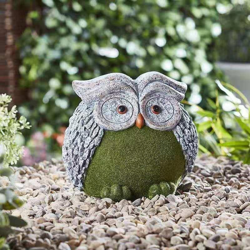 绿绒仿真动物卡通喷绒羊猫头鹰摆件庭院花园草坪幼儿园家居装饰品