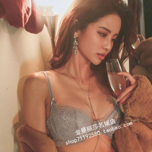 韩国代购正品冬季新款名媛气质女郎时尚舒适性感蕾丝文胸内衣套装