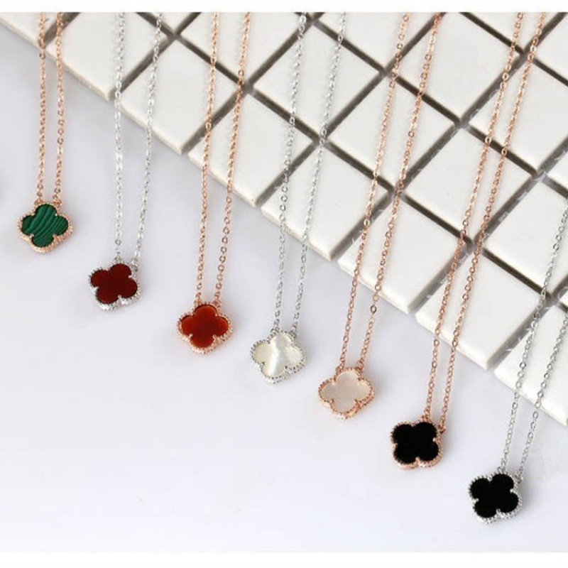 S925 Sterling Silver Necklace Black clover pendant for women with fashionable diamond inlaid fresh collarbone chain accessories