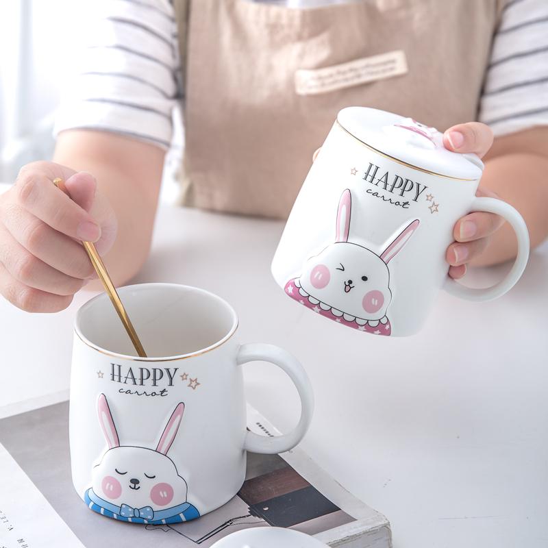 情侣杯子创意可爱办公室带盖马克杯