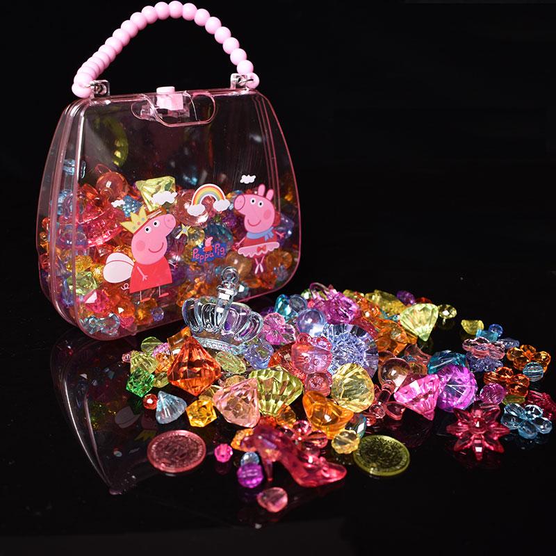 儿童玩具diy仿水晶宝石七彩石项链