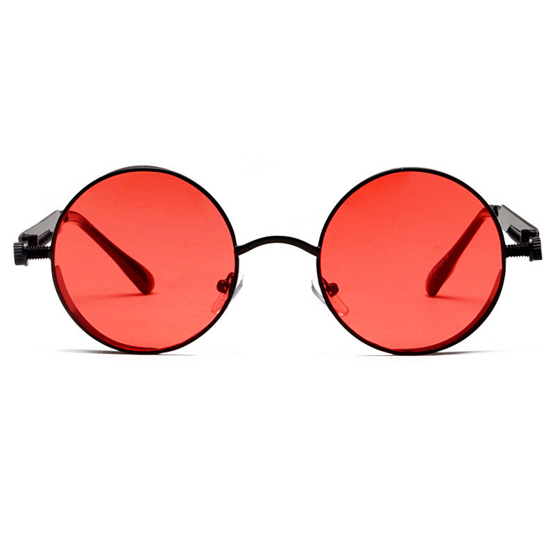 Round red mens and womens trendy round frame sunglasses for myopia