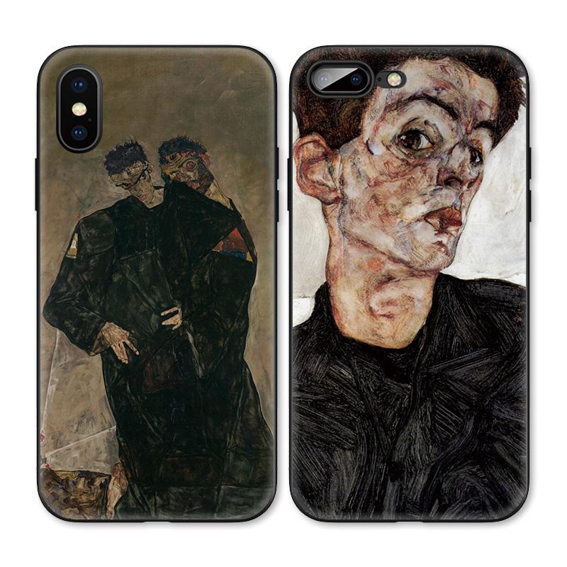 席勒自画像艺术油画冷淡风适用iPhoneXS Max手机壳X苹果XR/8p/7/6图片