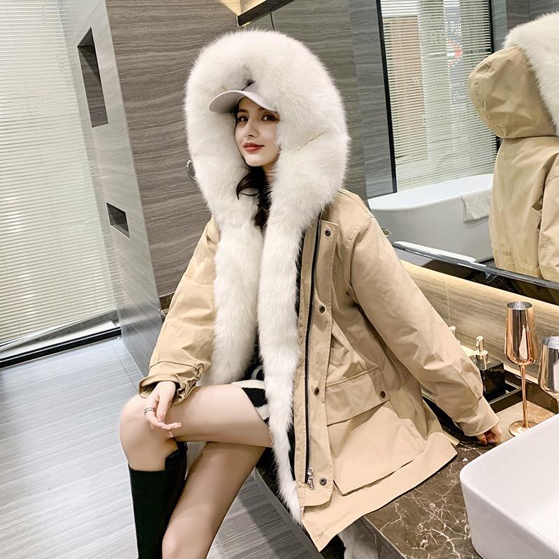 派克服女2020冬獭兔毛仿皮草内胆外套短款狐狸毛领新款可拆卸大衣