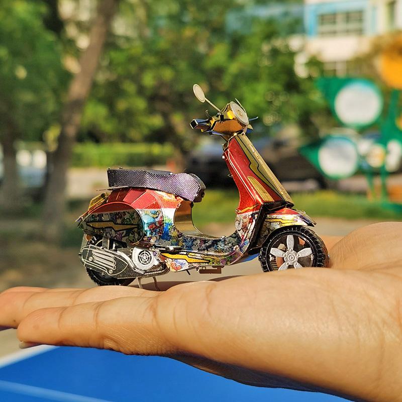 爱拼 全金属不锈钢diy拼装模型3d迷你立体拼图普里马韦拉小摩托车