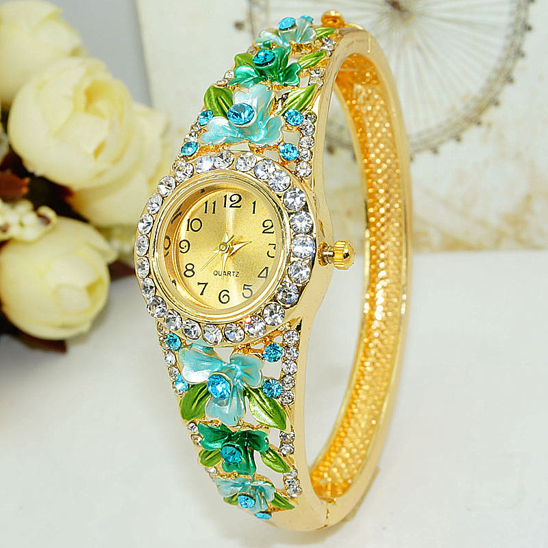Export quality Cloisonne Bracelet Watch womens wide hollow fashion Korean crystal retro National Style Gold Plated Watch