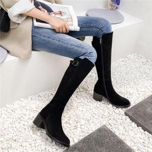 时尚品牌春秋天全牛皮高跟高筒靴牛反绒不过膝盖中筒骑士靴子女粗