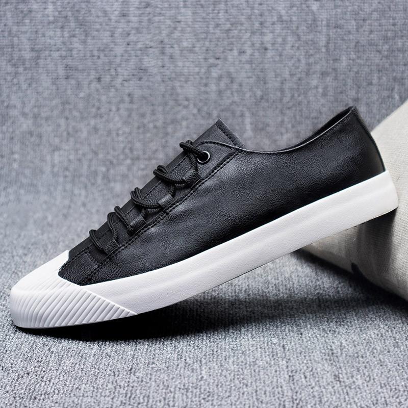 男鞋秋季款男士黑色帆布鞋子休闲潮鞋板鞋韩版百搭皮面低帮布鞋图片