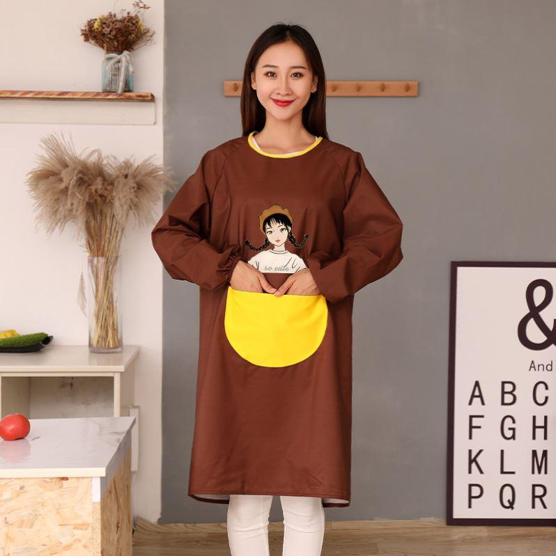 防水罩衣大人女时尚冬季加绒面中长款围裙家用厨房防油工作服外套