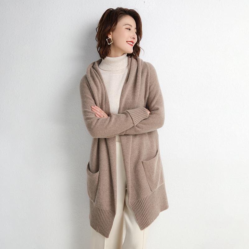 100%山羊绒中长款羊毛衫2019新款宽松显瘦针织开衫毛衣外套慵懒女