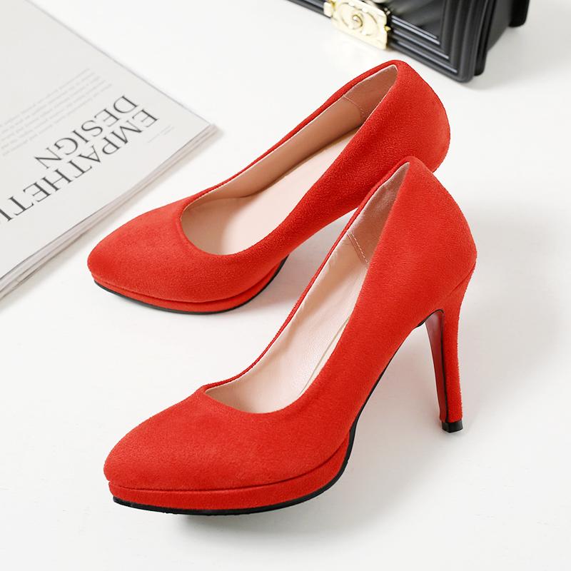 尖头细跟红色超高跟鞋婚礼新娘婚鞋33防水台红鞋银色单鞋绒面春秋