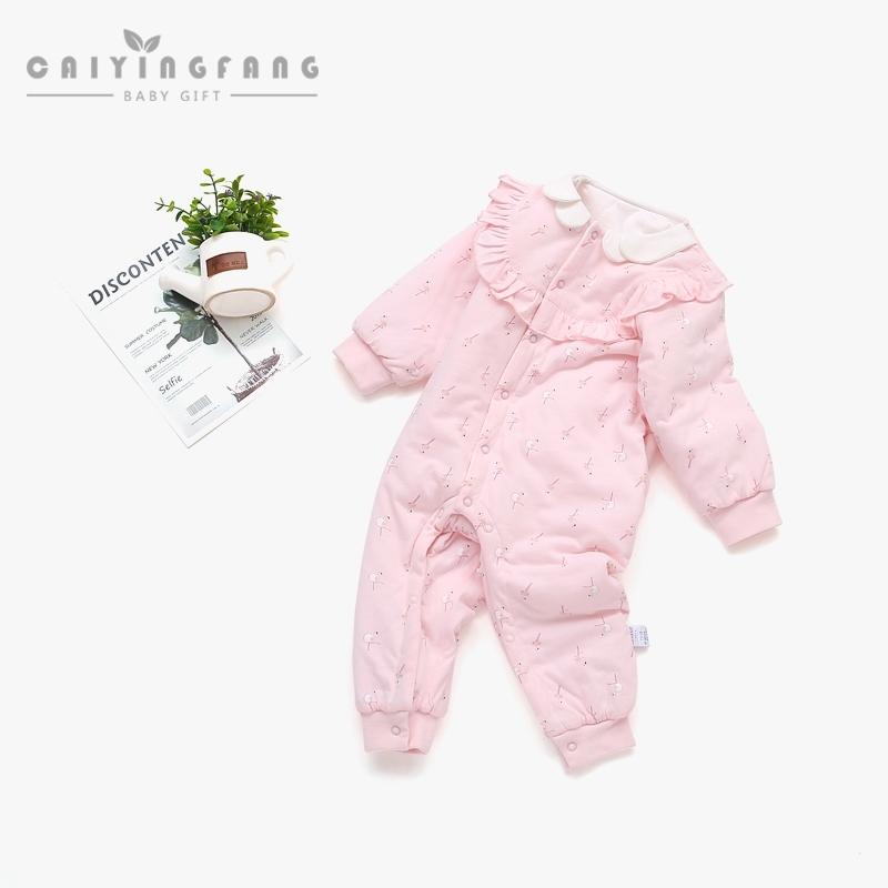 婴儿连体衣春秋薄棉服纯棉新生儿衣服0-3个月6初生宝宝春装哈衣女,可领取5元天猫优惠券