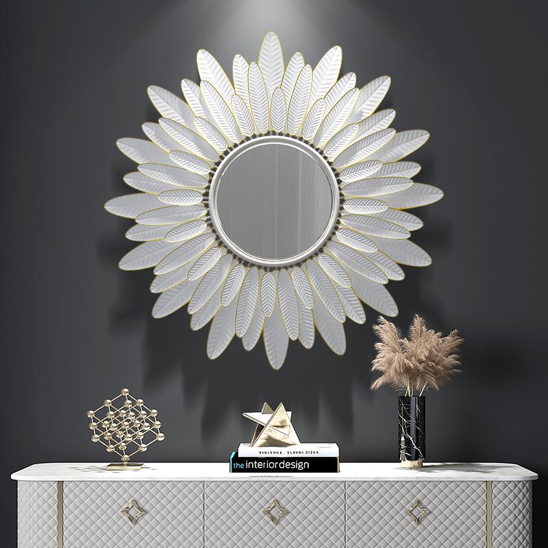 轻奢墙饰艺术壁挂件餐厅玄关民宿创意镜子铁艺客厅背景墙面装饰镜