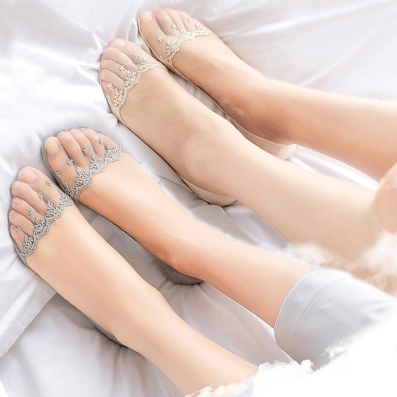 【特价2/4双】船袜女子浅口隐形硅胶防滑女士蕾丝短袜学生棉袜子