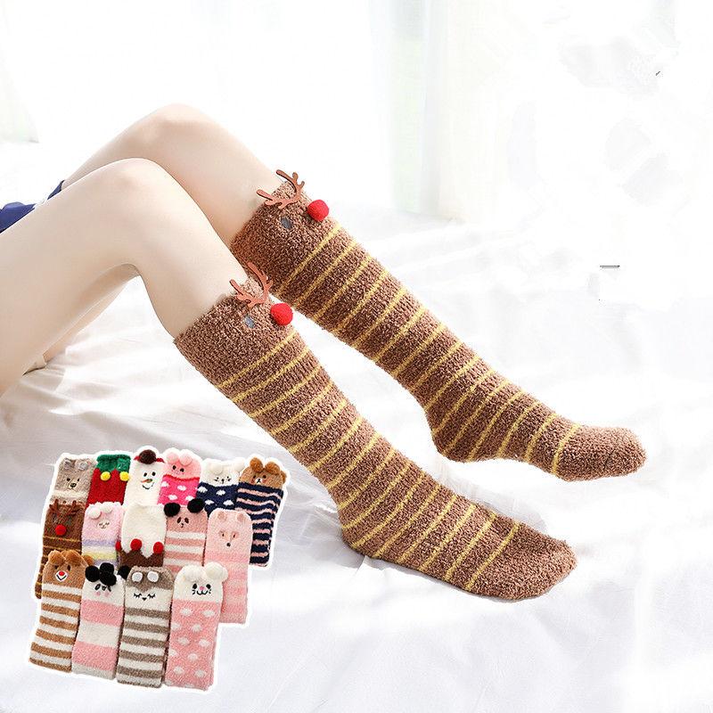 冬季女士加厚保暖袜子可爱地板月子睡眠袜珊瑚绒居家中长筒过膝袜