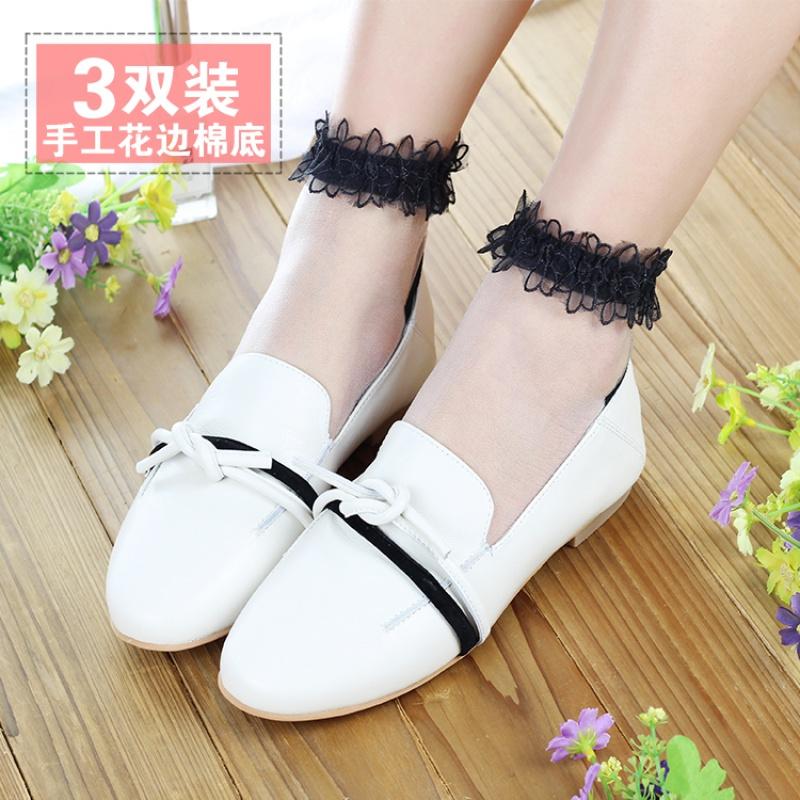 三双装春夏季日系玻璃短丝隐形手工蕾丝花边短袜透明女袜子薄款