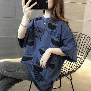 短袖t恤女夏季2020新款宽松韩版洋气百搭卡通纯棉半袖上衣女ins潮