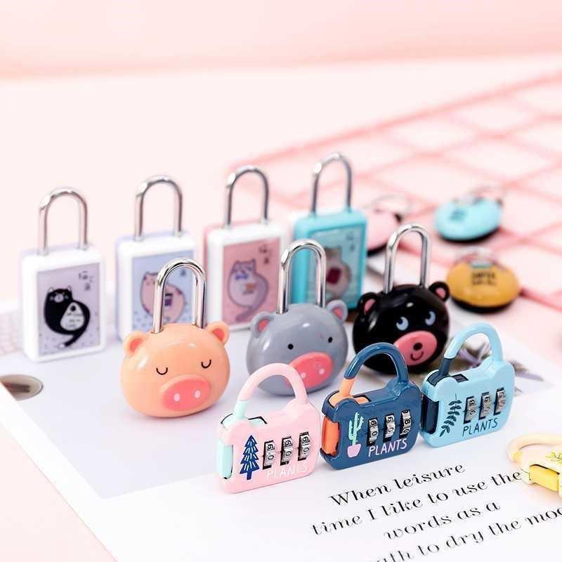 卡通迷你密码锁可爱小猪锁三位数密码锁行李箱小盒子隐私小锁