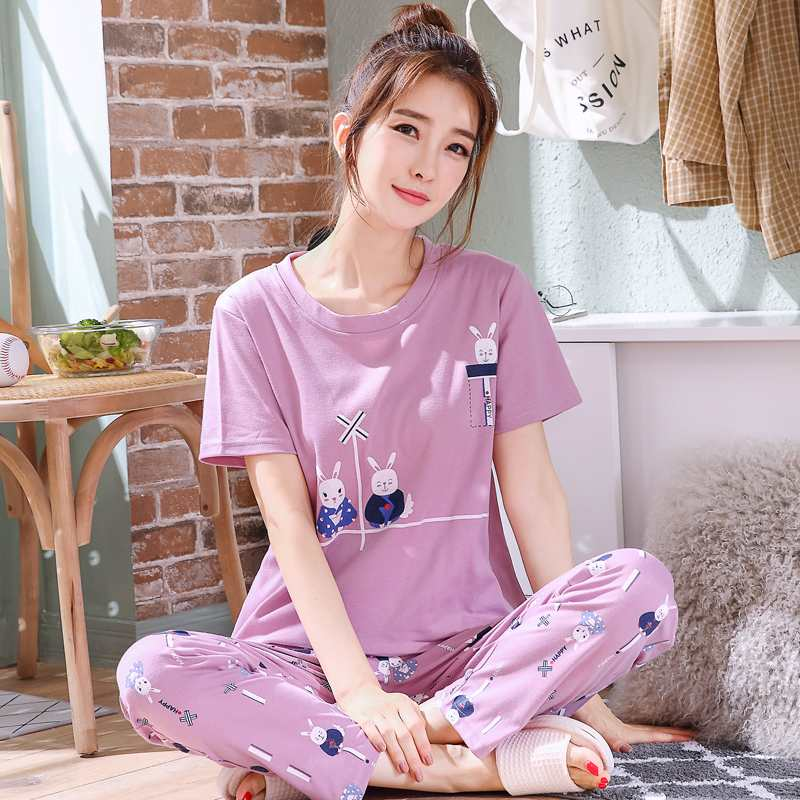Every day special price summer cotton pajamas women summer short sleeve pants thin home clothes can wear summer suit spring and Autumn