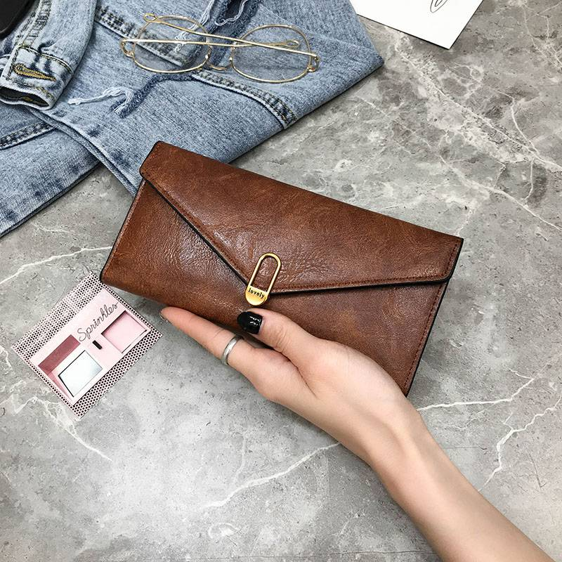 2020 new womens wallet womens long retro bag type three fold wallet with large capacity buckle multi card zero Purse