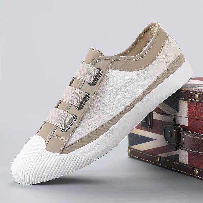 夏季2021新款帆布鞋男低帮透气韩版懒人一脚蹬网鞋潮男老北京布鞋