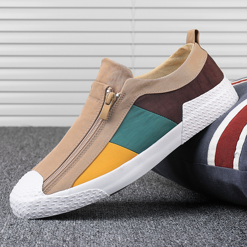 夏季新款男鞋透气板鞋休闲鞋男帆布鞋一脚蹬百搭潮鞋拼色拉链布鞋