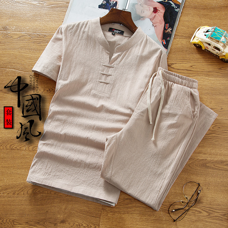 Linen suit mens summer clothes mens Short Sleeve T-Shirt Large and loose Chinese Style Mens fashion cotton hemp summer clothes V